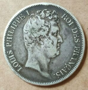 5-Francs-argent-Louis-Philippe-1830-A-Paris-tete-nue-en-creux