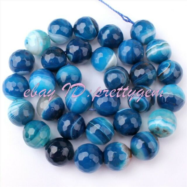 """6/8/10/12/14MM FACETED ROUND BLUE BANDED AGATE LOOSE GEMSTONE BEADS STRAND 15"""""""