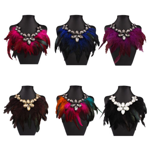 Fashion Crystal Feather Chunky Statement Pendant Ribbon Chain Necklace Jewelry