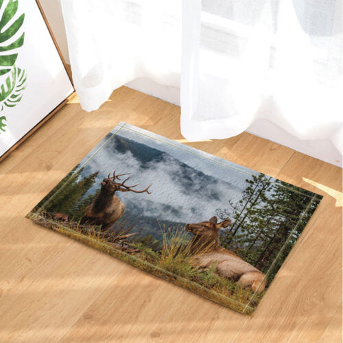 Wild Elk in the Rocky Mountains Bathroom Rug Non-Slip Floor Door Mat 16x24/""