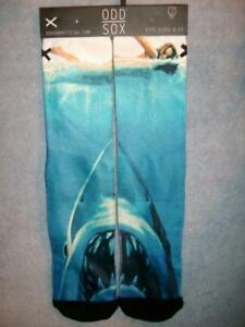 Odd Sox Jaws Movie Cover Great White Shark Movie Socks Men/'s 6-13 Film Throwback