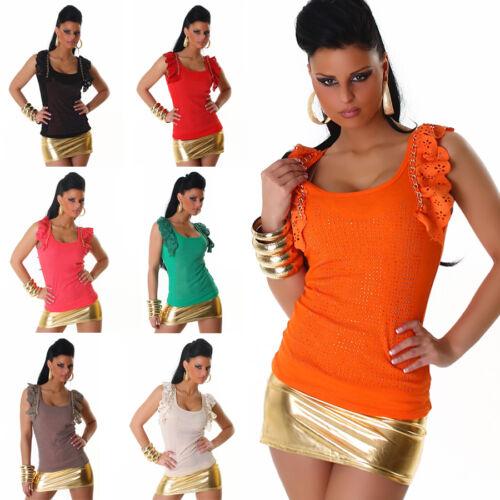 Top Strass Or Chaîne shirt femme été T-Shirt Chemise volants pierres coiffe