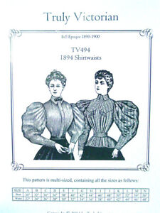 Ladies-Truly-Victorian-Sewing-Pattern-for-1890-039-s-style-blouse-shirtwaist-TV494