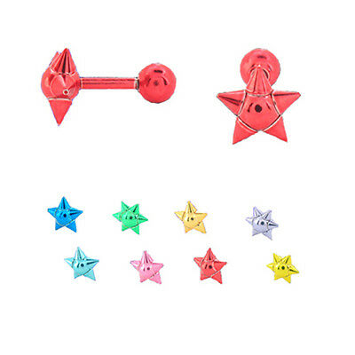 316L Surgical Steel Anodized Ear Cartilage Helix Piercing 7.8mm Star 18G