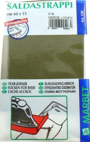 SALDASTRAPPI Termoadesivi MARBET 40 x 15cm cotone Verde loden rammendo buchi