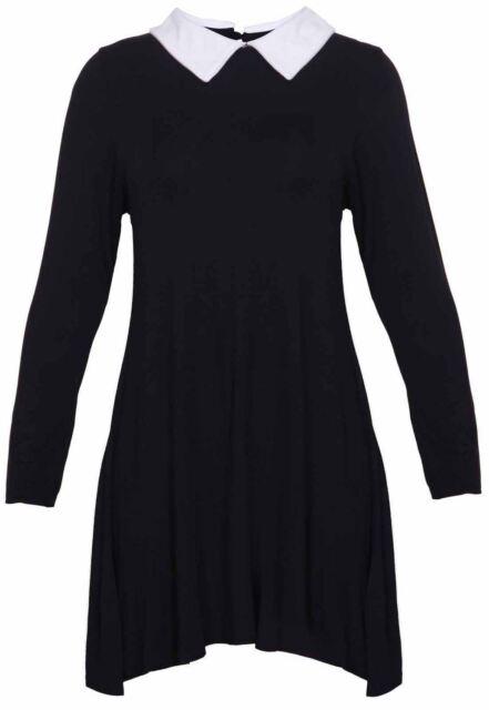 Womens Plus Size Peter Pan Collar Printed Plain Long Sleeve Swing Flare Dress