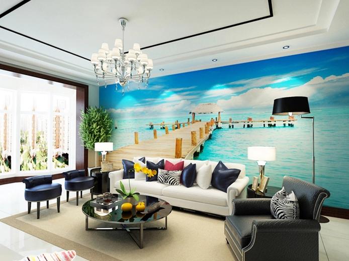 3D Sea Wood Bridge 100 Wall Paper wall Print Decal Wall Deco Wall Indoor Murals
