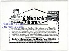 Klavier Hupfeld Phonola Reklame 1913 selbstspielendes Musikrolle Frederic Lamond
