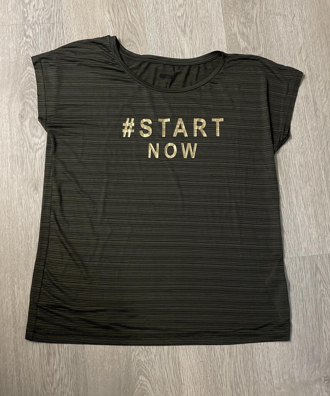 """Damen Sport T-Shirt - Gr. M - Khaki mit goldener Schrift """"Start Now"""" - Ergee"""