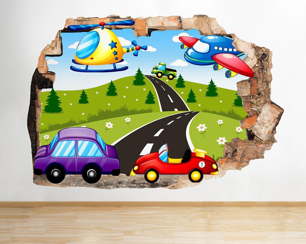 J111 Transport Voitures Aeroplant garçons  Autocollant Chambre 3D Vinyle enfants