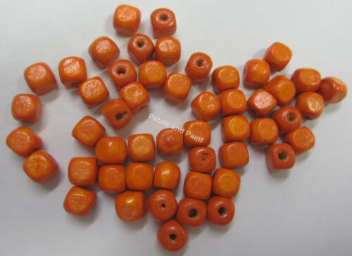 50 Wooden Beads 6mm Cube Wood Bead Orange For Beading /& Craft WB605