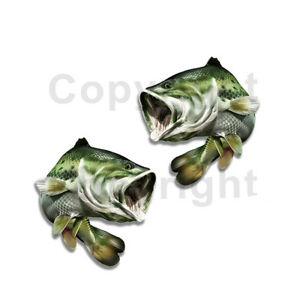 Largemouth Bass Sticker Decal Fishing Boat Car Truck Camper Trailer F031 2 Pack