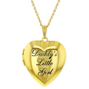 Children-039-s-Heart-Photo-Locket-Pendant-Necklace-Daddy-039-s-Little-Girl-19-034