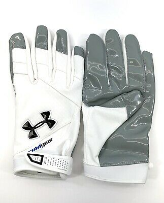 White//Black Under Armour Coldgear NFL Receiver Football Gloves Men Size 4XL
