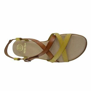 Size-11-Brown-amp-Yellow-Strappy-Flat-Sandals-Made-in-Spain-Big-Large-Size-Shoes
