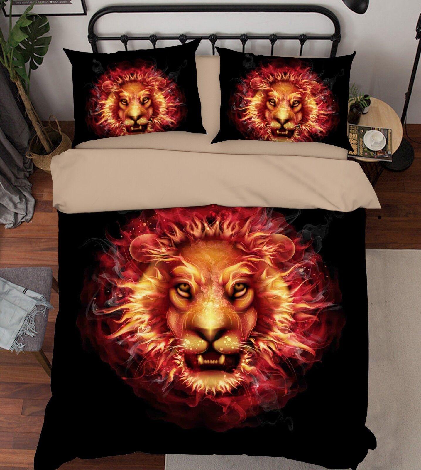 3D Flame Lion 696 Bed Pillowcases Quilt Duvet Cover Set Single King UK Summer