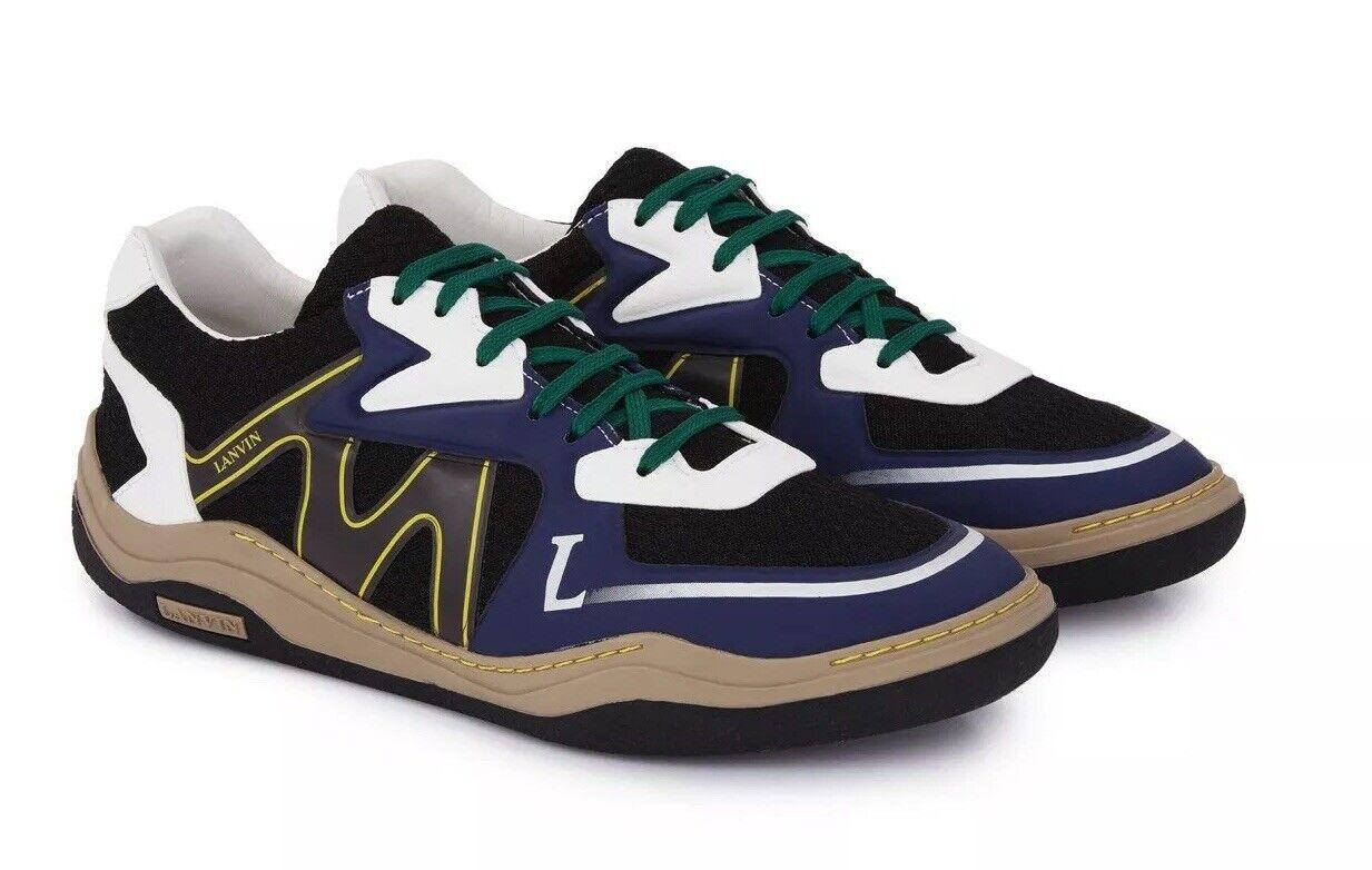 LANVIN ⚡  Faible Top En Maille Bleu Marine Chaussures Taille 10