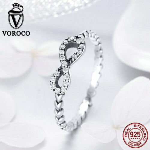 Voroco 925 Sterling Silver Infinity anneaux avec AAA Cz Heart Band avec Taille 6,7,8