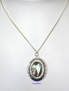 NATURAL-SHELL-PENDANT-LOCKET-NECKLACE-ON-SILVER-PLATED-CHAIN-16-034-OR-18-034-CHAIN