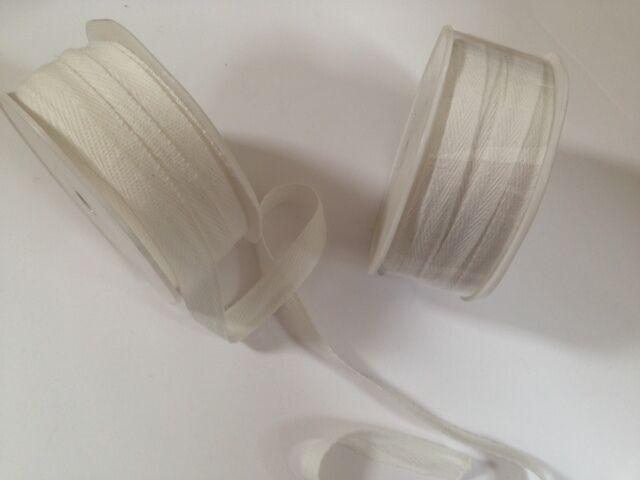 VIVANT Cotton Herringbone Ribbon Weddings - var Natural shades / lengths /widths