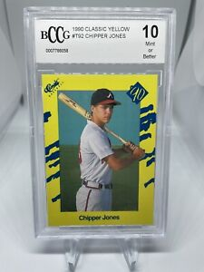 1990 Classic Yellow #T92 Chipper Jones BCCG 10 Atlanta Braves Hall Of Fame HOF