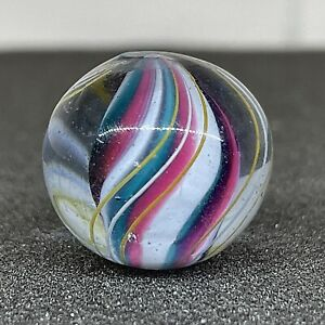 """Antique Vintage .77"""" German Green Pink White Jelly Solid Core Swirl Glass Marble"""