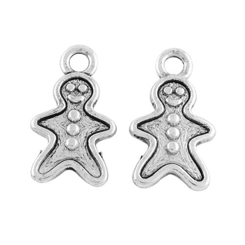 10 Gingerbread Man Xmas Food Antique Silver Charms Pendants 12mm x 20mm 017B