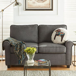 Details About Mainstays Traditional Loveseat Sleeper With Memory Foam Mattress Sofa Couch Gray