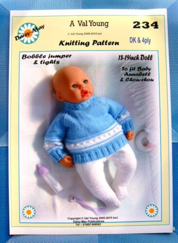 Daisy May DOLLS KNITTING PATTERN    Annabell Doll or18 //19ins No 234