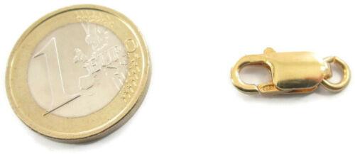 1 moschettone  medio grande di 16x7,5 mm argento 925 placcato oro giallo s.lunga
