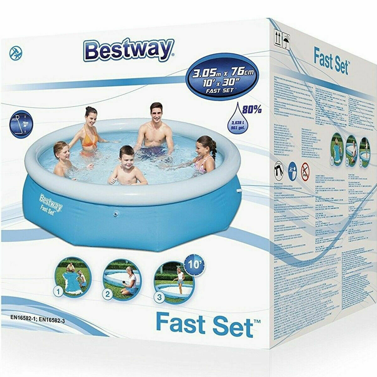 Bestway Fast Set Family Swimming Pool Outdoor Garden patio Pool 6ft/10ft