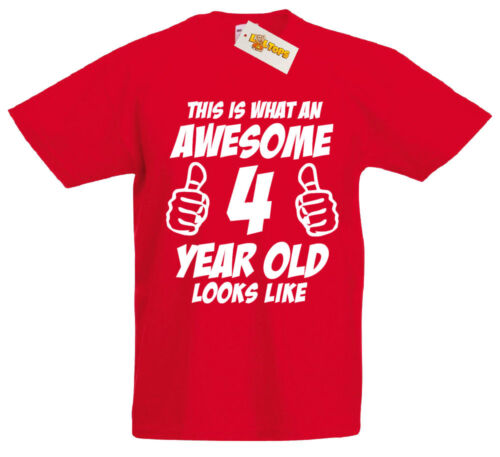 This Is Awesome 4 Year Old 4th Birthday Gifts Ideas T-Shirt For 4 Year Old Boys