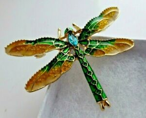 Dragonfly-brooch-yellow-green-enamel-blue-crystal-vintage-style-pin-good-quality