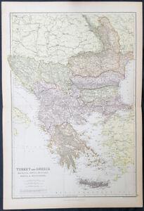 1870-John-Bartholomew-Large-Antique-Map-The-Ottoman-Empire-in-Europe-Turkey