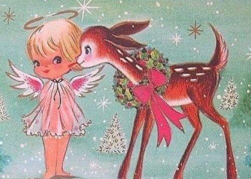 Vintage Style Gift Tags//Die cuts~24Tags~Christmas Reindeer Kissing A Sweet Angel