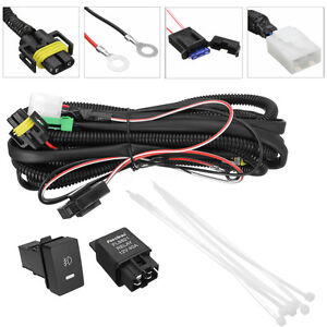 H11-Fog-Light-Wiring-Cable-Relay-Socket-Wire-LED-indicators-Switch-for-Ford