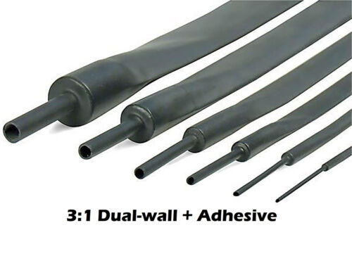 "25Ft 1/"" 25mm Black 3:1 Dual-Wall ADHESIVE Lined Heat Shrink Tubing"