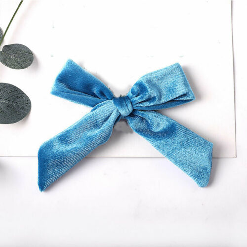 "5/""Kids Velvet Bow Hair Clip Solid Barrettes Alligator Clip Hair Accessories"