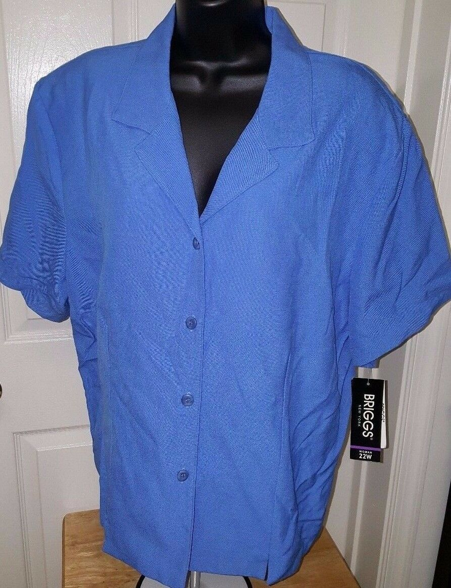 Briggs New York NWT Womens Plus Ocean bluee Button Down Shirt Top Size 22W