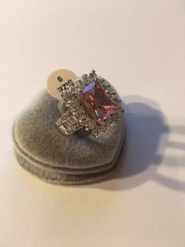 Women Saucy Pink-White Topaz Gemstone Great AAA S-Silver PLATED Ring Size 9-R861