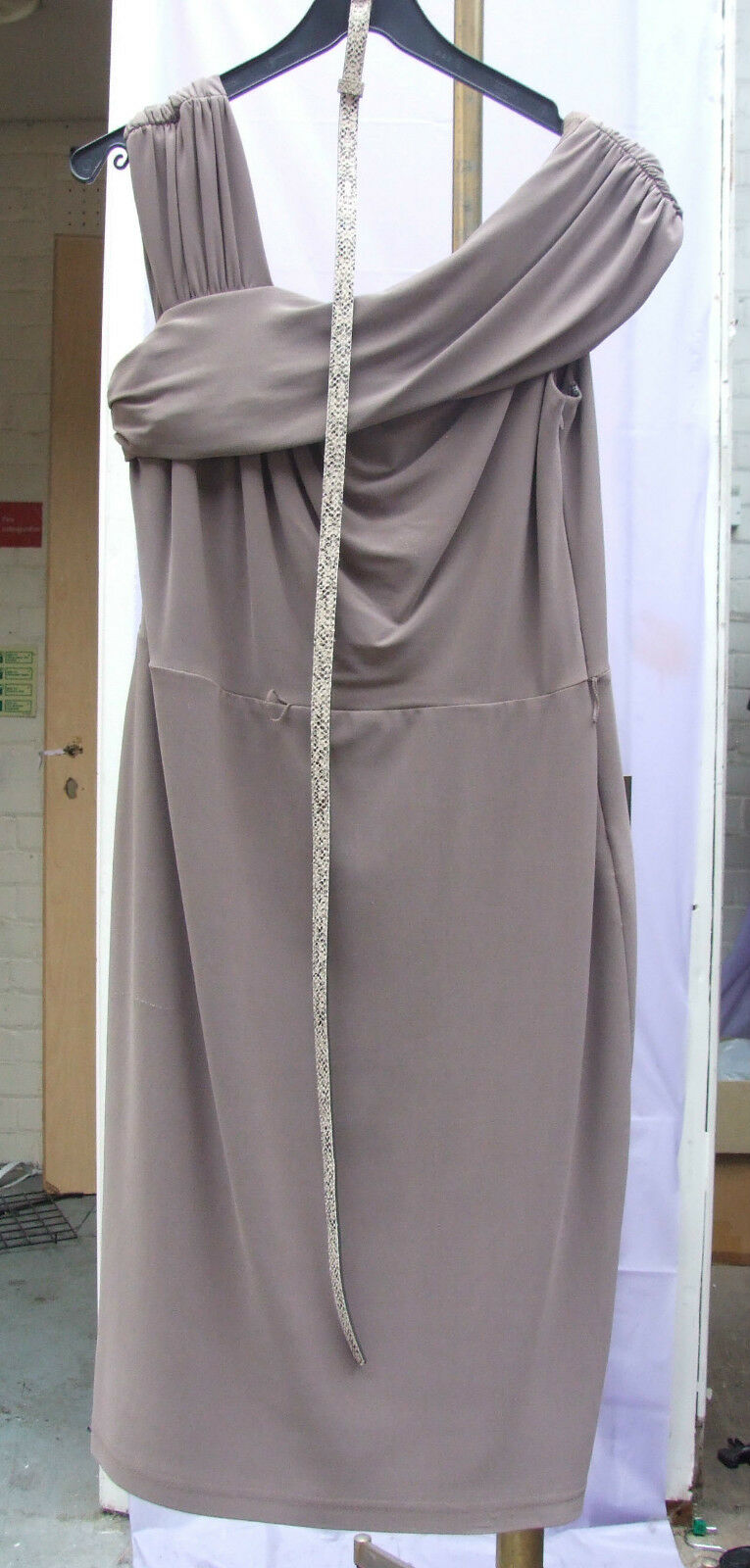 Joseph Ribkoff BNWT 14 Magnificent Taupe Asymmetric Shoulder Dress & Belt US 12