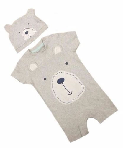 Baby Boy Teddy Bear Motif Summer Romper Suit /& Hat Outfit Set Age 0 3 6 9 Months