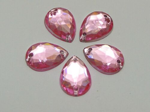 200 Pink Acrylic Teardrop Flatback Sewing Rhinestone Sew on Bead 10X14mm