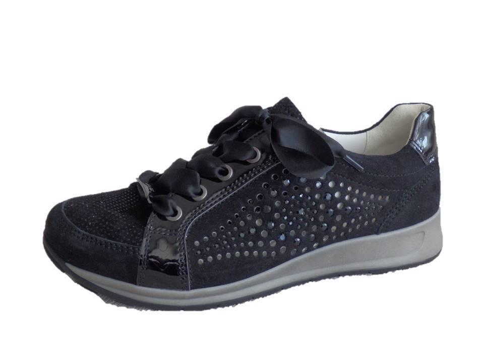 Ara cortos gamuza cuero negro ancho h (37,5)