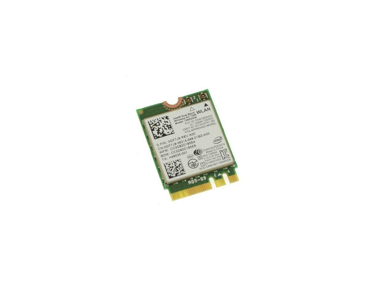 Intel Venue 11 Pro Wireless-AC7260 Wifi Bluetooth 4.0 LTP Card Dell GF7J8 TESTED
