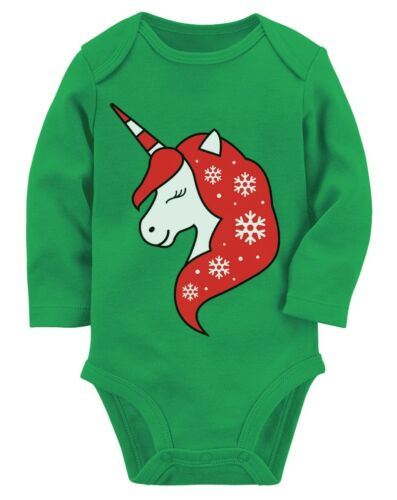 Christmas Unicorn Baby Girl Cute Holiday Outfit Baby Long Sleeve Bodysuit Gift