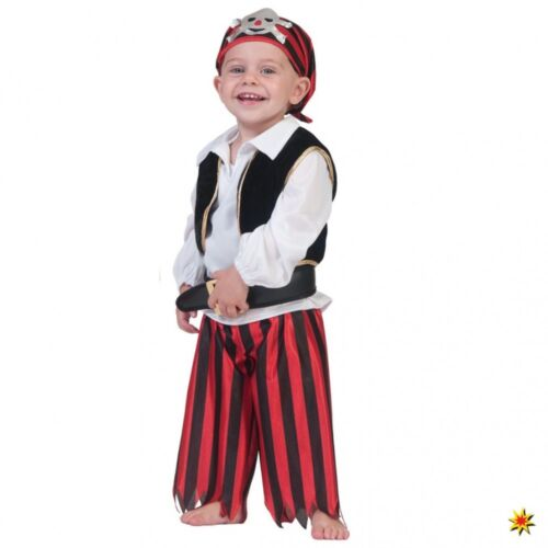 86-98 Shirt Weste Hose Gürtel Kopftuch Seeräuber Kinderkostüm Pirat Roy Gr