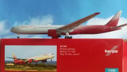 """Herpa Wings 1:500 531481 Rossiya Boeing 777-300 UOVO-UNL /""""SOCHI/"""""""