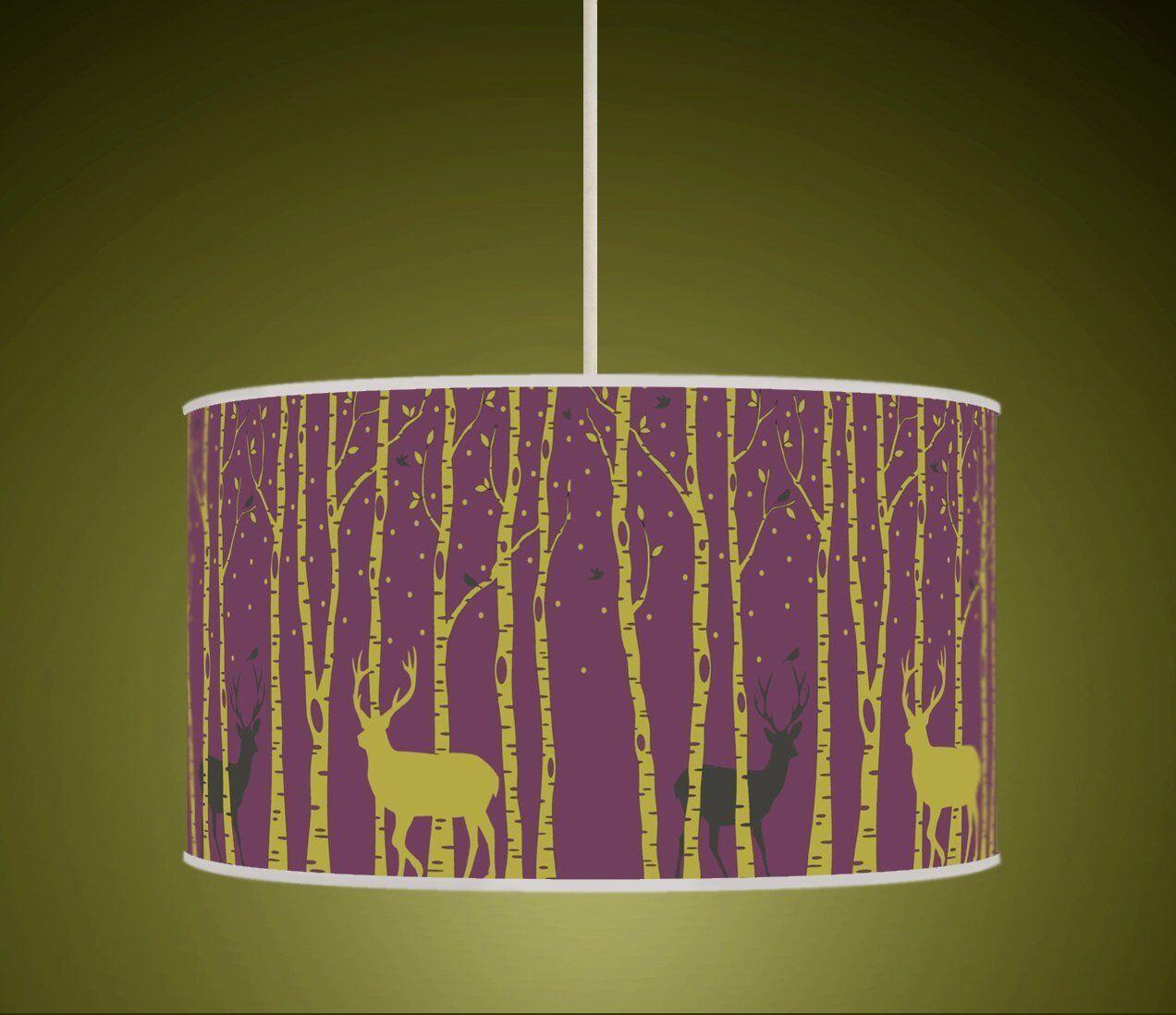 Les arbres prune Stag Cerf prune arbres imprimé rétro vert fait main tissu abat-jour 660 4c4359