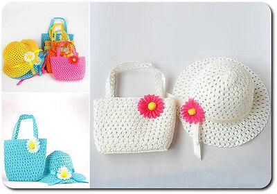 Brioso Set Ragazze Cappello + Borsa Baby Estivo In Paglia Berretto 8 Colori Fiore Rosa Bianco- Elevato Standard Di Qualità E Igiene